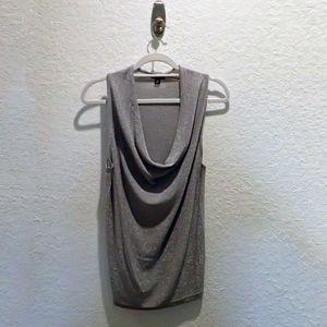 Ann Taylor Shimmer Silver Draped Sleeveless Top